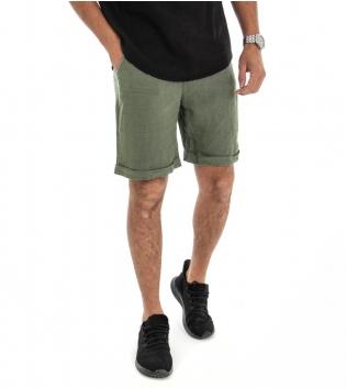 Bermuda Uomo Lino Shorts Pantaloncino Tinta Unita Verde Laccio Tasca America GIOSAL