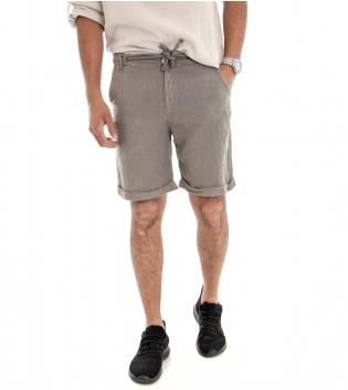 Bermuda Uomo Lino Shorts Pantaloncino Tinta Unita Fango Laccio Tasca America GIOSAL