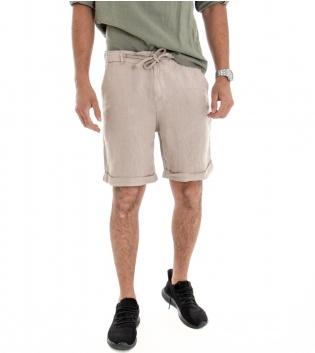 Bermuda Uomo Lino Shorts Pantaloncino Tinta Unita Beige Laccio Tasca America GIOSAL