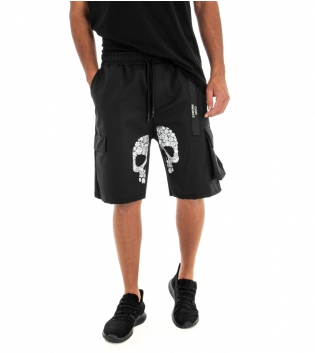 Bermuda Uomo Pantaloncino Shorts Stampa Cargo Tinta Unita Elastico GIOSAL