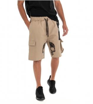 Bermuda Uomo Pantaloncino Shorts Stampa Cargo Tinta Unita Beige Elastico GIOSAL