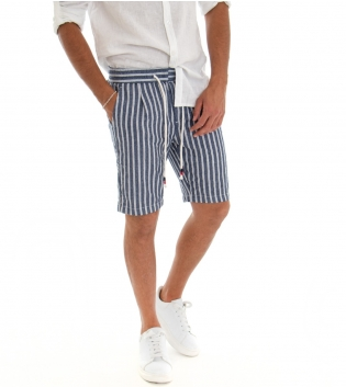 Bermuda Uomo Lino Shorts Pantaloncino  Rigato Blu Elastico Tasche America GIOSAL