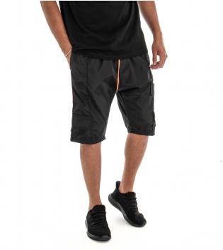 Bermuda Tuta Shorts Pantaloncino Tinta Unita Nero Riga Fluo Elastico GIOSAL