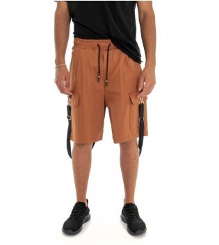 Bermuda Uomo Shorts Pantaloncino Tuta Tinta Unita Tabacco  Cargo Elastico GIOSAL
