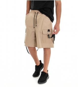 Bermuda Uomo Shorts Pantaloncino Tuta Tinta Unita Beige Cargo Elastico GIOSAL