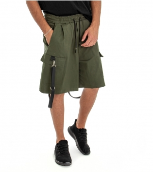 Bermuda Uomo Shorts Pantaloncino Tuta Tinta Unita Verde Cargo Elastico GIOSAL