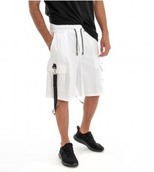 Bermuda Uomo Shorts Pantaloncino Tuta Tinta Unita Bianco Cargo Elastico GIOSAL