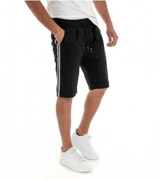 Bermuda Uomo Shorts Pantaloncino Tinta Unita Nero Elastico Righe Lato GIOSAL