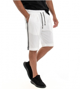 Bermuda Uomo Shorts Pantaloncino Tinta Unita Bianco Elastico Righe Lato GIOSAL