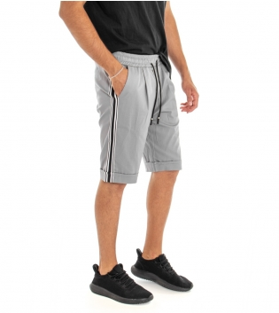 Bermuda Uomo Shorts Pantaloncino Tinta Unita Grigio Elastico Righe Lato GIOSAL