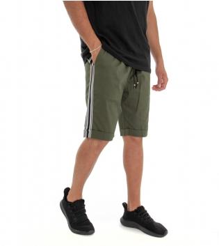 Bermuda Uomo Shorts Pantaloncino Tinta Unita Verde Elastico Righe Lato GIOSAL