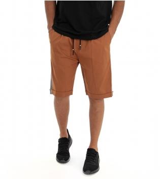 Bermuda Uomo Shorts Pantaloncino Tinta Unita Camel Elastico Righe Lato GIOSAL