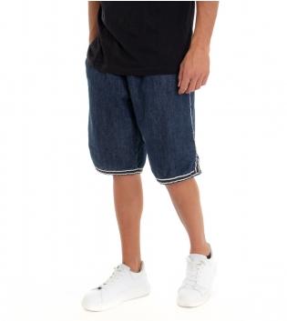Bermuda Uomo Jeans Pantaloncino Denim Righe Tasca America Elastico con Coulisse GIOSAL