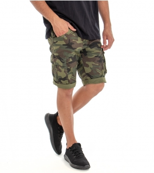 Bermuda Uomo Jeans Pantaloncino Cotone Militare Cargo Tasca America GIOSAL