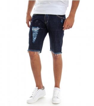 Bermuda Uomo Jeans Pantaloncino Denim Rotture Sfumatura Macchie Pittura  GIOSAL