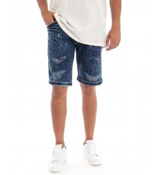 Bermuda Uomo Jeans Pantaloncino Denim Rotture Sfumature Macchie Pittura Cinque Tasche GIOSAL