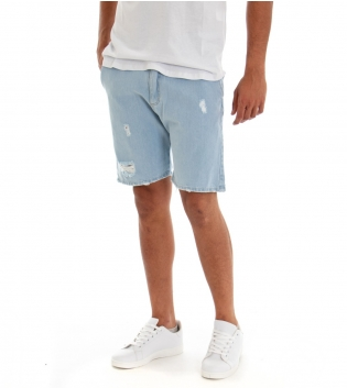 Bermuda Uomo Jeans Pantaloncino Denim Chiaro Rotture Tasca America GIOSAL