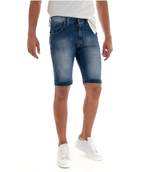 Bermuda Uomo Denim Chiaro Sfumato Jeans Slim Fit Cinque Tasche Pantaloncino Classico GIOSAL