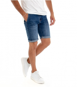 Bermuda Uomo Shorts Corto Jeans Denim Blu Tasca America GIOSAL
