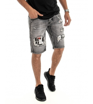 Bermuda Uomo Pantalone Corto Slim Fit  Jeans Denim Grigio Rotture GIOSAL