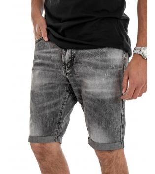 Bermuda Uomo Pantalone Corto Slim Fit Jeans Grigio Sfumato Grigio  GIOSAL