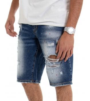 Bermuda Uomo Pantalone Corto Jeans Rotture Denim Macchie Pittura GIOSAL