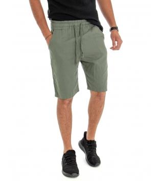 Bermuda Uomo Lino Pantaloncino Tinta Unita Verde Elastico Casual GIOSAL