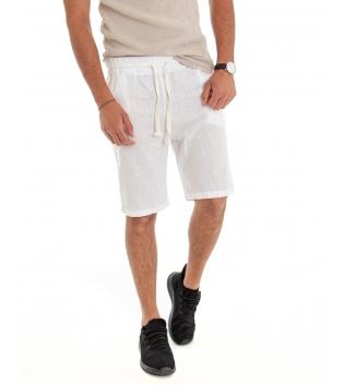 Bermuda Uomo Lino Pantaloncino Tinta Unita Bianco Elastico Casual GIOSAL