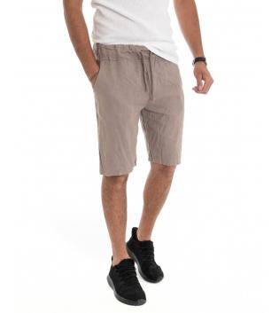 Bermuda Uomo Lino Pantaloncino Tinta Unita Fango Elastico Casual GIOSAL