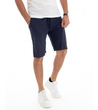 Bermuda Uomo Lino Pantaloncino Tinta Unita Blu Elastico Casual GIOSAL