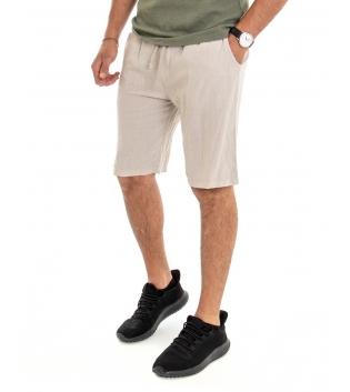 Bermuda Uomo Lino Pantaloncino Tinta Unita Beige Elastico Casual GIOSAL