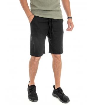 Bermuda Uomo Lino Pantaloncino Tinta Unita Nero Elastico Casual GIOSAL