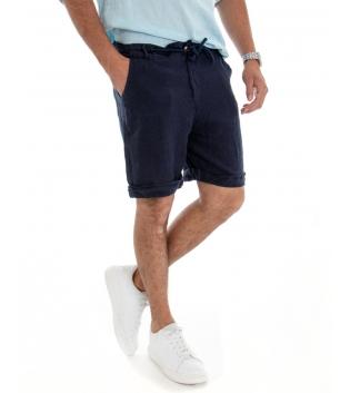 Bermuda Uomo Corto Pantaloncino Lino Tinta Unita Blu Tasca America Casual Laccio GIOSAL