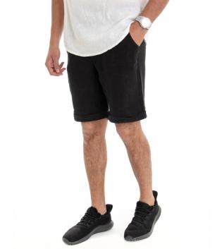 Bermuda Uomo Corto Pantaloncino Lino Tinta Unita Nero Tasca America Casual Laccio GIOSAL