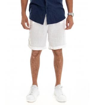 Bermuda Uomo Corto Pantaloncino Lino Tinta Unita Bianco Tasca America Casual Laccio GIOSAL