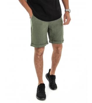 Bermuda Uomo Corto Pantaloncino Lino Tinta Unita Verde Tasca America Casual Laccio GIOSAL