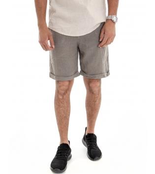 Bermuda Uomo Corto Pantaloncino Lino Tinta Unita Fango Tasca America Casual Laccio GIOSAL