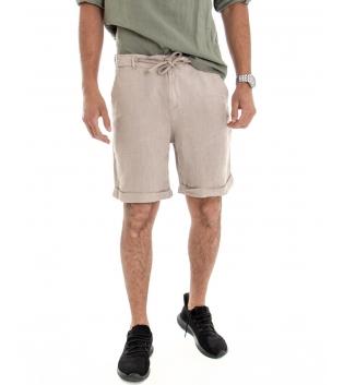 Bermuda Uomo Corto Pantaloncino Lino Tinta Unita Beige Tasca America Casual Laccio GIOSAL