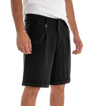 Bermuda Uomo Pantalone Corto Nero Catena Tinta Unita Tasca America GIOSAL
