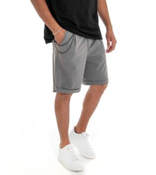 Bermuda Uomo Pantalone Corto Grigio Catena Tinta Unita Tasca America GIOSAL