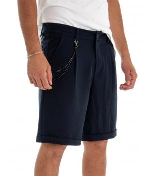 Bermuda Uomo Pantalone Corto Blu Catena Tinta Unita Tasca America GIOSAL