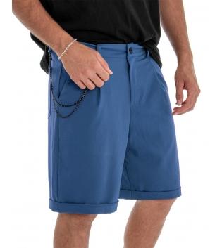 Bermuda Uomo Pantalone Corto Blu Royal Catena Tinta Unita Tasca America GIOSAL