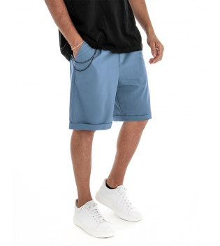 Bermuda Uomo Pantalone Corto Celeste Catena Tinta Unita Tasca America GIOSAL