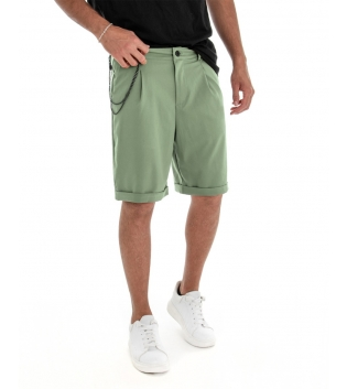 Bermuda Uomo Pantalone Corto Verde Salvia Catena Tinta Unita Tasca America GIOSAL