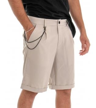 Bermuda Uomo Pantalone Corto Beige Catena Tinta Unita Tasca America GIOSAL