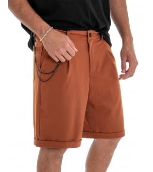 Bermuda Uomo Pantalone Corto Tabacco Catena Tinta Unita Tasca America GIOSAL