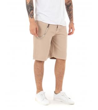 Bermuda Uomo Classico Catena Tinta Unita Beige Pantalone Corto Cotone Cinque Tasche GIOSAL