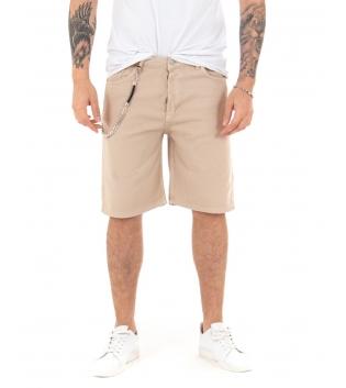 Bermuda Uomo Classico Catena Tinta Unita Beige Pantalone Corto Cotone Cinque Tasche GIOSAL -Beige-42