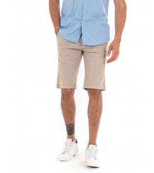 Bermuda Uomo Pantalone Corto Tinta Unita Beige Classico Tasca America Cotone Casual GIOSAL