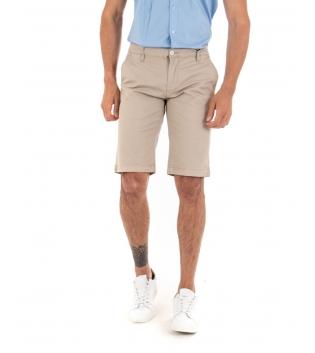 Bermuda Uomo Pantalone Corto Tinta Unita Beige Classico Tasca America Cotone Casual GIOSAL-Beige-42